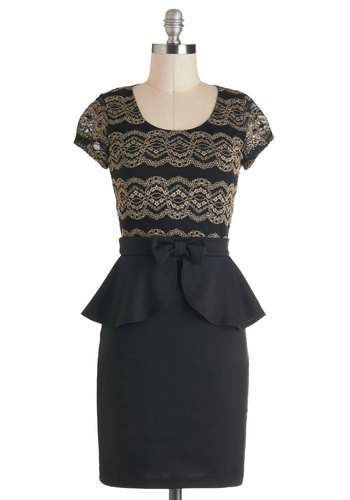 Foyer Fête Dress - Black, Lace, Peplum, Mid-length, Tan / Cream, Bows, Cocktail, Film Noir, Cap Sleeves, Party