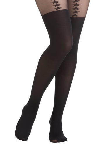 Wherever You Star Tights - Black, Solid, Sheer, International Designer