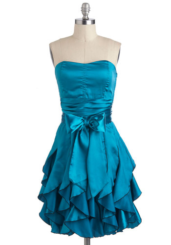 Who Wants to Be a Frillionaire Dress in Teal - Blue, Solid, Pleats, Ruffles, Belted, Formal, Prom, Empire, Strapless, Spaghetti Straps, Mid-length, Statement