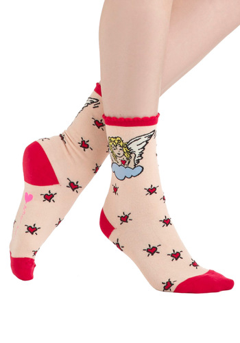 Betsey Johnson Cherub Charm Socks by Betsey Johnson - Pink, Multi, Print, Trim, Kawaii, Novelty Print