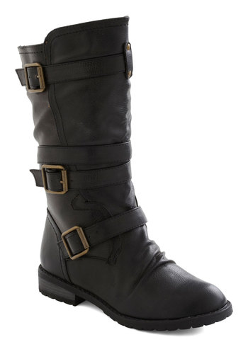 Put Down Routes Boot - Faux Leather, Black, Buckles, Steampunk, Flat, Fall
