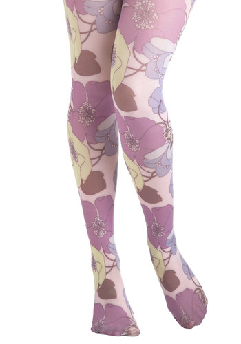 Once and Floral Tights - Multi, Floral, Sheer, Vintage Inspired, Novelty Print