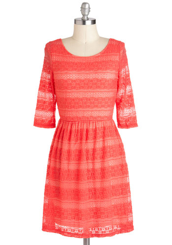 Boost Your Coral Dress - Coral, Lace, Casual, A-line, 3/4 Sleeve, Mid-length, Sheer, Summer