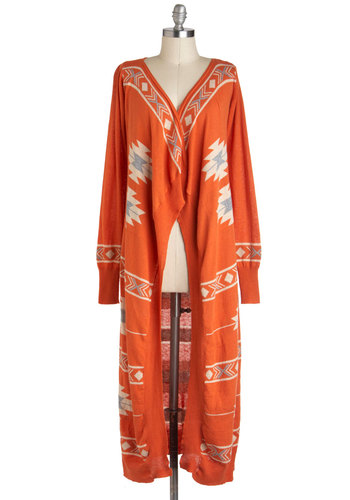 All Along the Swatch Tower Cardigan - Orange, Tan / Cream, Casual, Long Sleeve, Cotton, Boho, Folk Art, Fall