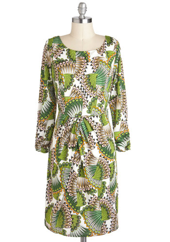 Fan Section Dress - Casual, Long Sleeve, Mid-length, Green, White, Animal Print, Sheath / Shift, 70s
