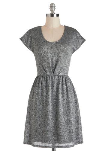Fly Me to the Moonrock Dress - Silver, Solid, A-line, Cap Sleeves, Short, Casual, Glitter, Scoop