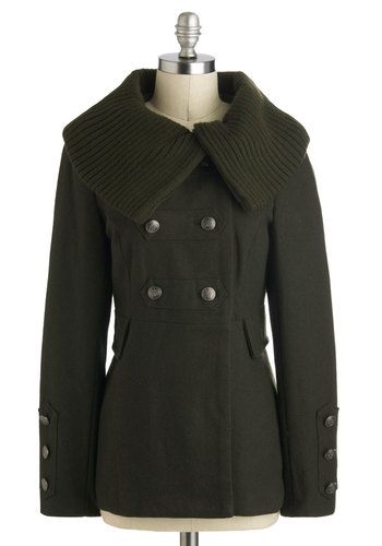 Amateur Astronomer Coat in Green - Mid-length, 3, Green, Solid, Buttons, Military, Double Breasted, Long Sleeve, Tis the Season Sale, Fall