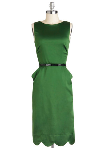One for Good Luxe Dress - Long, Green, Solid, Cutout, Scallops, Belted, Cocktail, Sheath / Shift, Sleeveless, Pockets, Holiday Party, Vintage Inspired, 60s, Tis the Season Sale