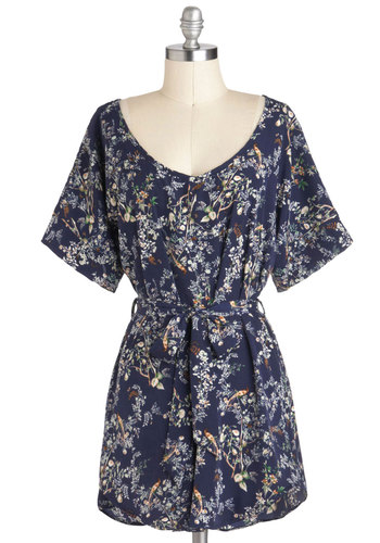 Pheasant Company Tunic - Blue, Floral, Belted, Casual, Short Sleeves, Long, Multi, Tis the Season Sale