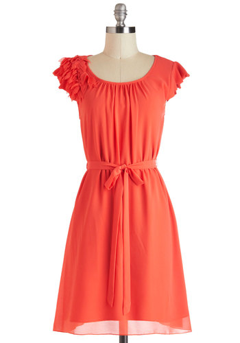 Gist in Time Dress - Orange, Solid, Belted, Casual, Sheath / Shift, Cap Sleeves, Mid-length, Tis the Season Sale, Coral, Spring, Summer