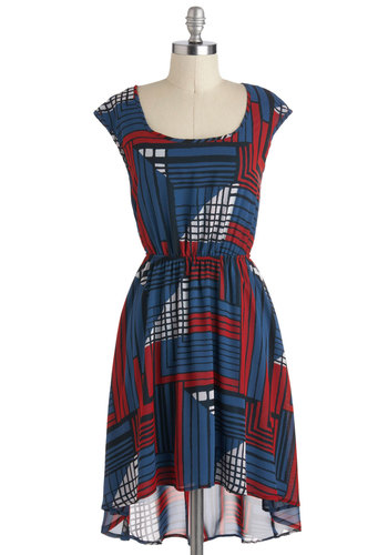 Try as I Matrix Dress - Mid-length, Blue, Red, White, Print, A-line, High-Low Hem, Cap Sleeves, Casual, Tis the Season Sale