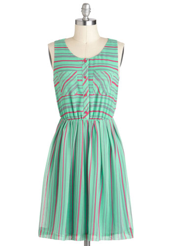 Raspberry Mint Julep Dress - Mint, Pink, Stripes, Buttons, Pockets, Casual, A-line, Tank top (2 thick straps), Spring, Mid-length, Pastel, Tis the Season Sale, Summer