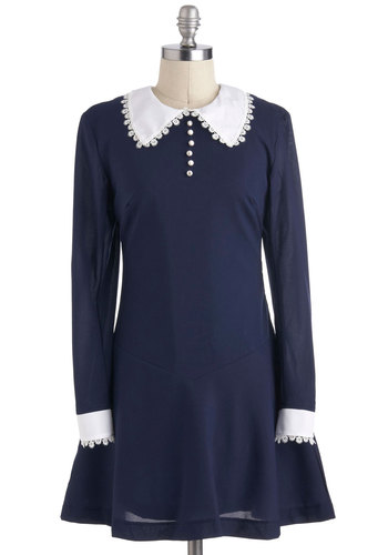 Dainty Day Dress - Short, Blue, White, Pearls, Long Sleeve, Collared, Work, Casual, Mod, Scholastic/Collegiate, Crew