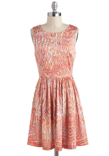 Palm Peach Dress - Orange, Print, Casual, A-line, Sleeveless, Mid-length, Multi, Coral