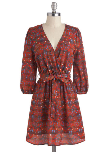 Paprika, Kansas Dress - Red, Multi, Print, Casual, Fall, Mid-length, Belted, A-line, V Neck, 3/4 Sleeve, Boho