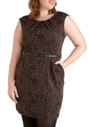 Decadent Decoration Dress in Plus Size - Brown, Paisley, Belted, Cap Sleeves, Work, Black, Pockets, Sheath / Shift, Fall, Party