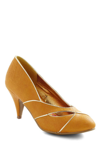 Mango Your Own Way Heel in Ataulfo Yellow by Bait Footwear - Mid, Leather, Yellow, Silver, Cutout, Trim, Party, Work, Vintage Inspired, 40s, 50s, Tis the Season Sale