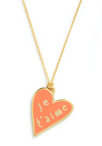 Corked Necklace in Heart by Yellow Owl Workshop - Gold, French / Victorian, Orange, Tis the Season Sale