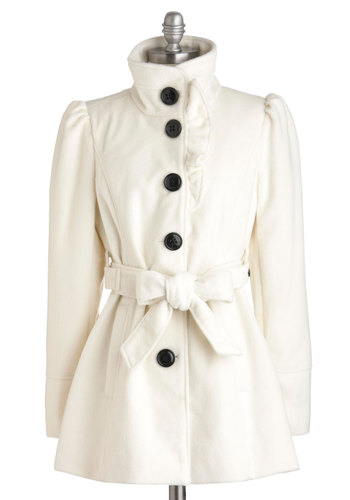 Each and Ivory Time Coat by Steve Madden - Mid-length, White, Solid, Buttons, Long Sleeve, Fall, 2, Pockets, Belted, Party, Casual, Vintage Inspired