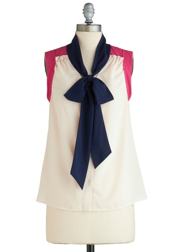 Before You Bow It Top - Mid-length, White, Blue, Purple, Tie Neck, Work, Sleeveless, Exclusives, Summer