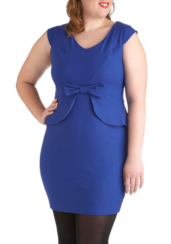 Panel Moderator Dress in Plus Size - Blue, Solid, Bows, Shift, Cap Sleeves, V Neck, Peplum, Work