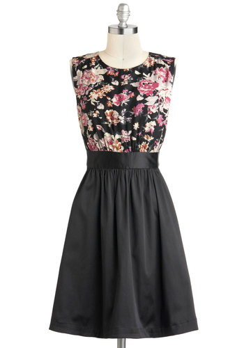 Too Much Fun Dress in Special Evening by Emily and Fin - Black, Pink, Floral, Pockets, Party, Sleeveless, International Designer, Tis the Season Sale, Pinup, Satin, Basic, Mid-length, Fit & Flare, Exclusives