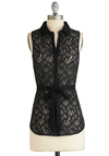 Model Sevillan Top - Sheer, Mid-length, Black, Floral, Buttons, Lace, Belted, Work, Sleeveless, Exclusives, Black, Sleeveless