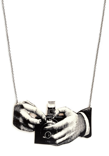 Ready for Your Close Up Necklace - Black, White, Film Noir, Print, Vintage Inspired, Statement