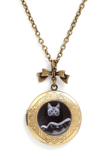 Keeping Tabbies Necklace - Gold, Black, Print with Animals, Vintage Inspired