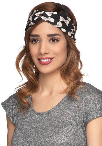 Luck of the Stylish Headband in Bows - Black, Tan / Cream, Print, Casual