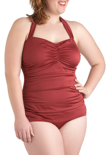 Bathing Beauty One-Piece Swimsuit in Merlot - Plus Size by Esther Williams - Red, Solid, Beach/Resort, Vintage Inspired, 60s, Summer, Tis the Season Sale, Variation