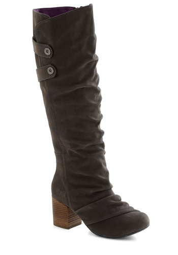 Way to the Taupe Boot - Mid, Grey, Ruching, Chunky heel, Casual, Rustic, Fall