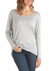 Catch Some Greys Top - Sheer, Grey, Solid, Casual, Long Sleeve, Boat, Mid-length, Cutout, Travel, Long Sleeve