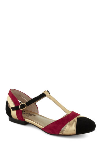 Freesia Flat in Red by Seychelles - Flat, Best, Leather, Red, Black, Gold, Colorblocking, Variation, T-Strap