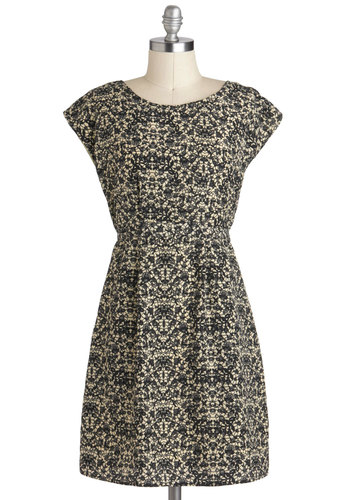 Belles and Thistles Dress by Tulle Clothing - Tan / Cream, Black, Print, Casual, Shift, Cap Sleeves, Mid-length, Work