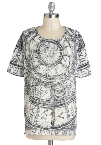 Horoscope It Out Top - Black, Casual, Short Sleeves, Sheer, White, Print, Mid-length