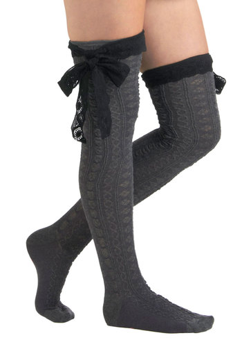 Betsey Johnson Another Grey-t Day Socks by Betsey Johnson - Grey, Bows, Ruffles, Sheer, Black, Knitted