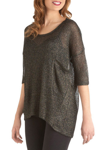 Shimmer in the Shadows Top by BB Dakota - Mid-length, Black, Gold, Solid, Pockets, Glitter, Party, Girls Night Out, 3/4 Sleeve