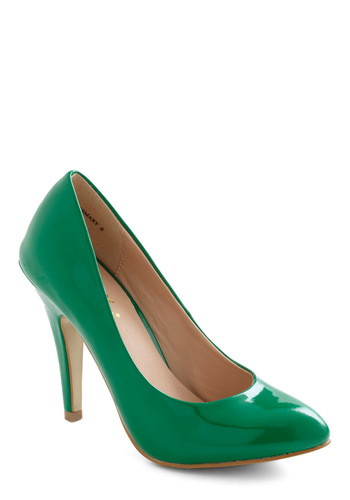 Profit and Gloss Heel in Green - Green, Solid, High, Party, Girls Night Out, Vintage Inspired, Pinup, Variation