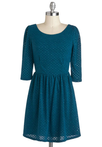 Isn't It Iconic Dress in Lagoon - Blue, Solid, Party, A-line, 3/4 Sleeve, Short