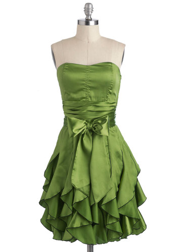 Who Wants to Be a Frillionaire Dress in Olive - Green, Solid, Pleats, Ruffles, Belted, Formal, Prom, Empire, Strapless, Spaghetti Straps, Mid-length