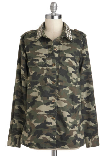 Tour of Beauty Jacket - Mid-length, 1, Tan / Cream, Black, Print, Buttons, Pockets, Studs, Casual, Military, Urban, Long Sleeve, Green, Epaulets