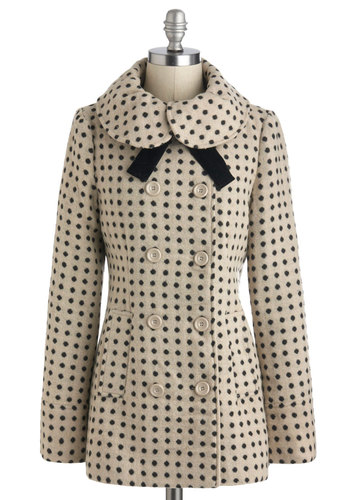 Dots Life Coat by Tulle Clothing - Tan, Black, Polka Dots, Buttons, Pockets, Long Sleeve, Mid-length, 3, Vintage Inspired, Winter
