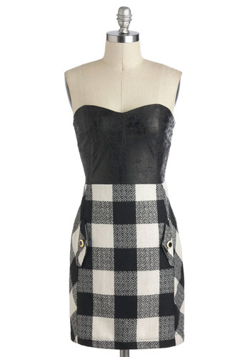 Double Major Dress - Black, White, Plaid, Pockets, Casual, Strapless, Sweetheart, Mid-length, Girls Night Out, Twofer, Fall