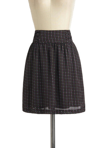 Confetti Countdown Skirt by Tulle Clothing - Black, White, Polka Dots, Casual, Short, Pink