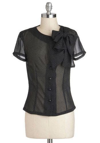 You Dot the Love Top - Black, White, Polka Dots, Buttons, Tie Neck, Party, Work, Short Sleeves, Sheer, Mid-length