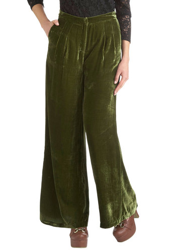 Glassblowing Class Pants in Moss - Green, Solid, Work, Pockets, Party, Vintage Inspired, Luxe, Fall