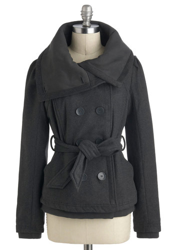 Traveling to Tacoma Coat - Grey, Solid, Buttons, Belted, Mid-length, Fall, 3, Pockets
