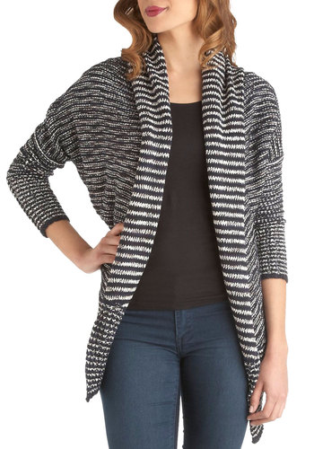 Shawl Together Now Cardigan - Black, White, Knitted, Casual, Long Sleeve, Mid-length