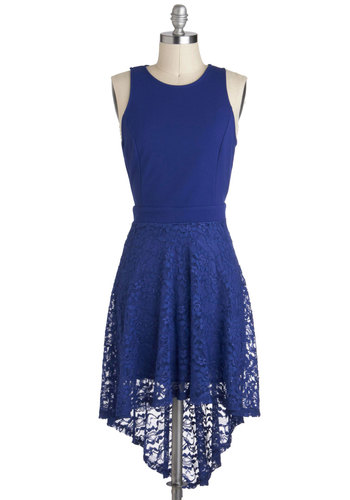 Sapphire in Your Eyes Dress - Blue, Solid, Lace, High-Low Hem, Mid-length, Cutout, Party, Sleeveless, Daytime Party